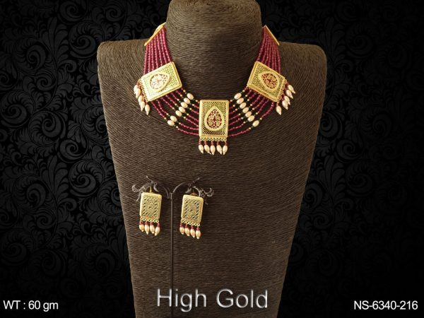 Traditional ruby green thewa necklace set
