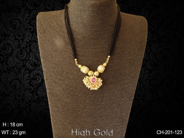 Cluster pearl rani center stone antique mangalsutra
