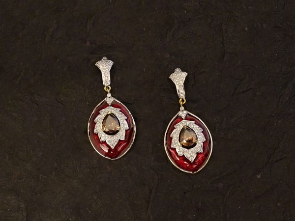 previous avsar real gold diamond fancy heart with flower shape ad earring