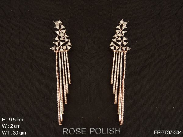 Party wear western type AD rose polish earring
