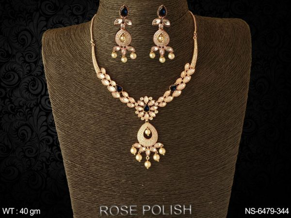 Full daimond coloring paan heavy ad necklace set