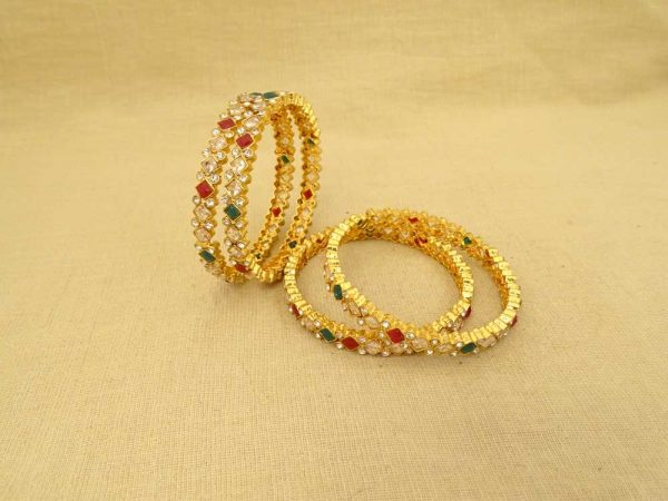 checks style square beads polki bangles