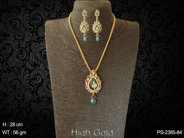 Leave design ruby green antique pendant set