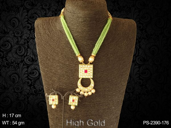 Chand square bridal antique design pendant set