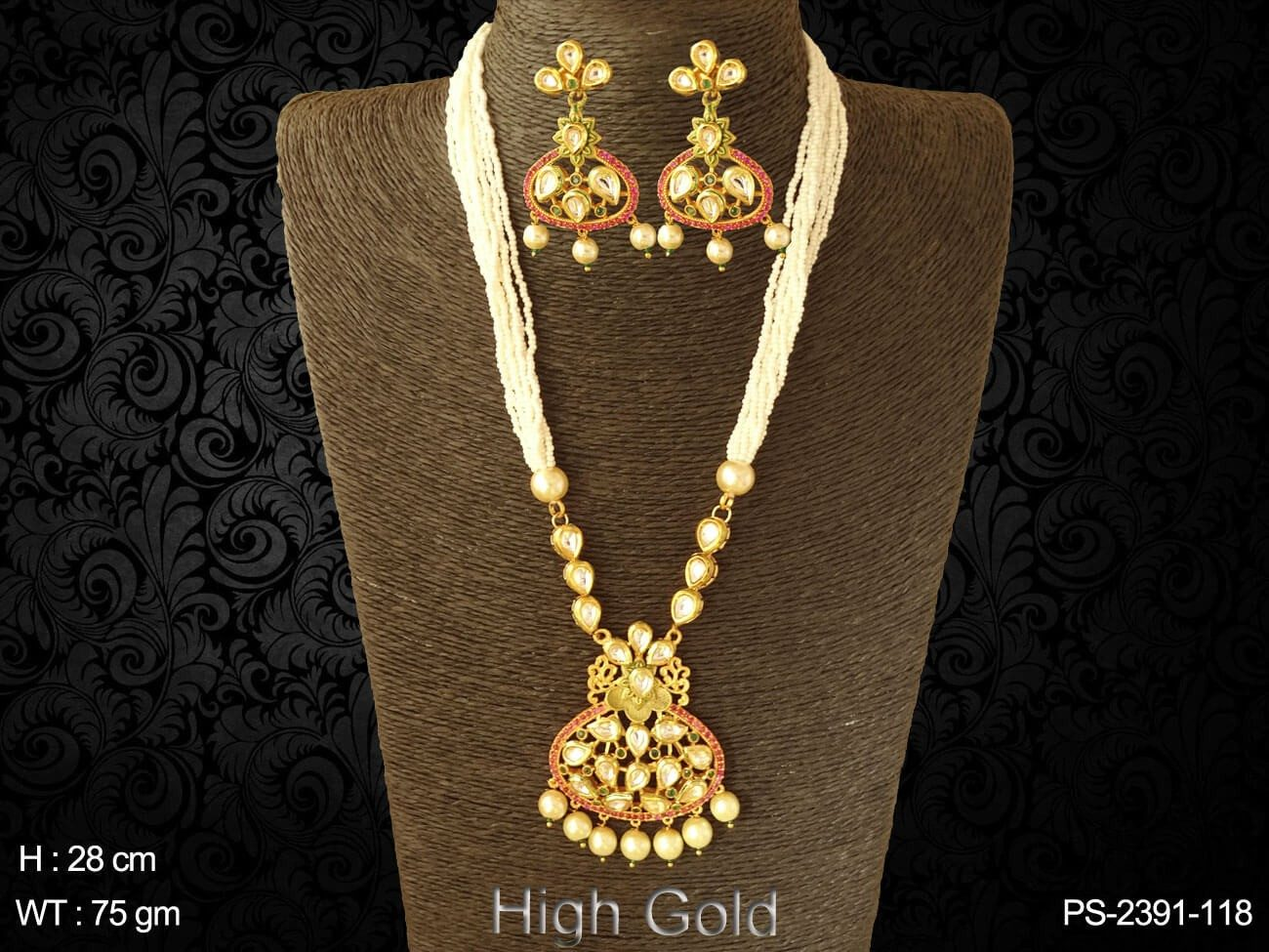 Bridal paan antique design pendant set