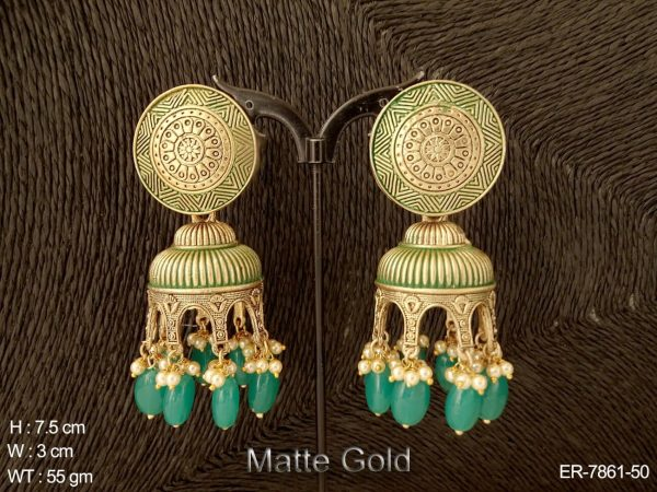 Emboss design beads colouring drops antique earring
