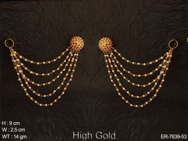 Full pearl kanchain antique earring