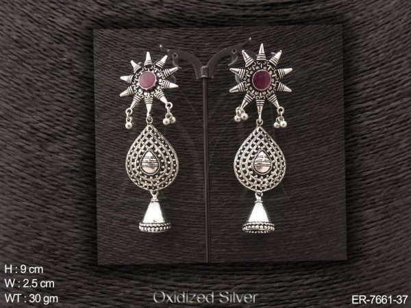 Sunflower oxcid antique jhumka earring