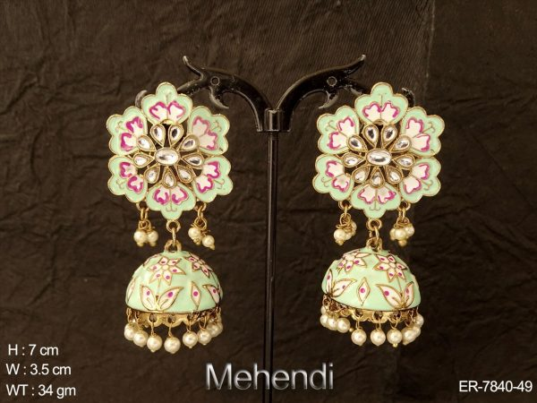 Meena kari flower design antique earring