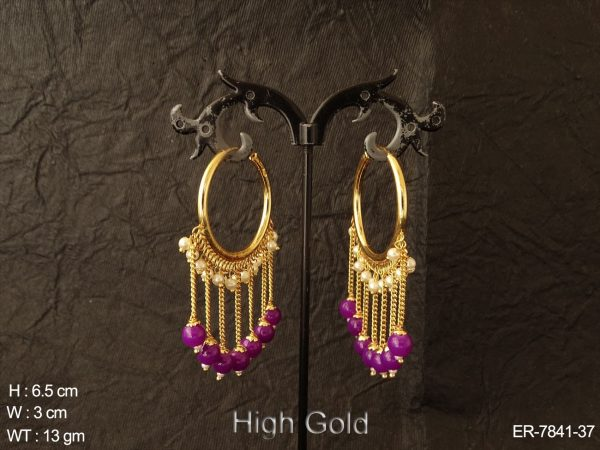 Long chain design bog ring antique earring