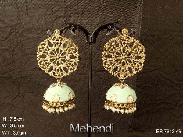 Antique net design mehandi polish meena kari jhumka