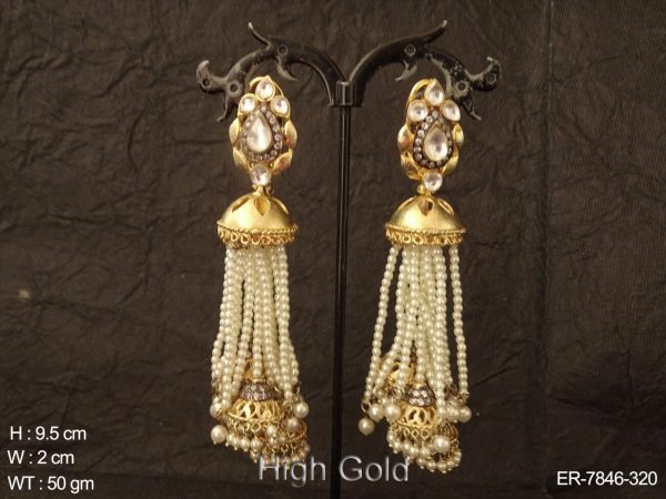 Traditional bollywood pearl kundan earring