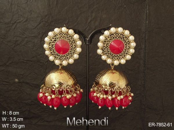 Beads stone net design antique jhumka earring