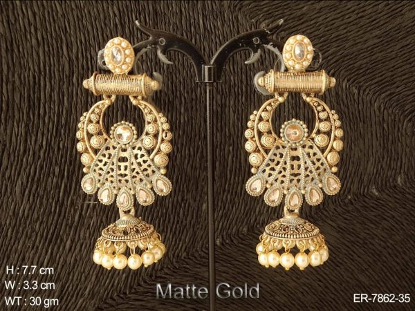 Matta gold finishing antique jhumka earring