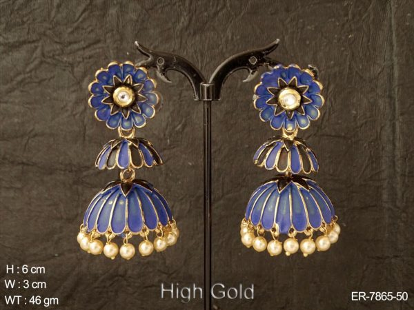 Full Meena kari antique jhumka earring