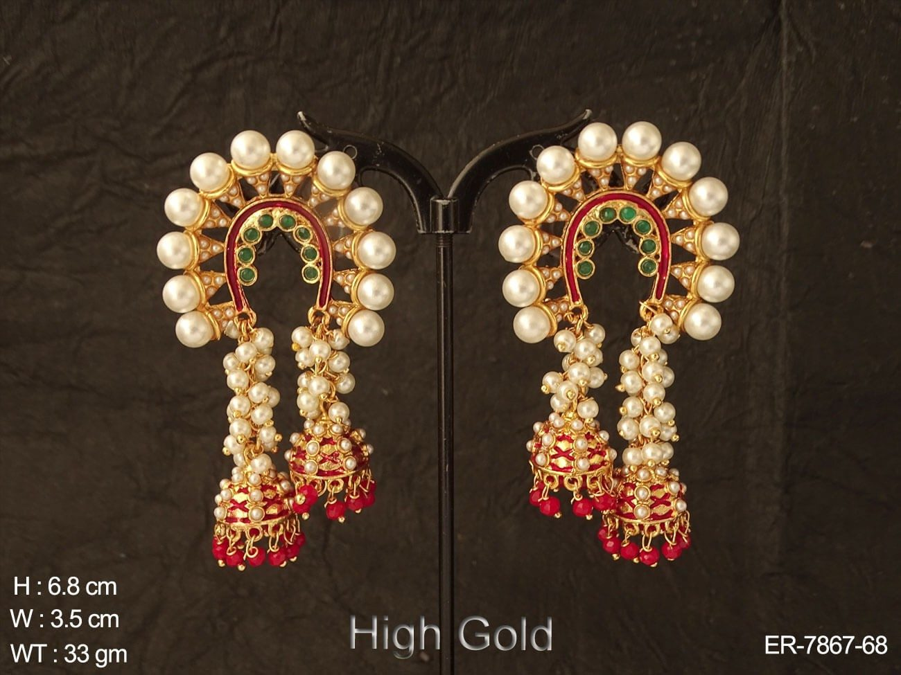 Fancy pearl clustered moti design polki earring