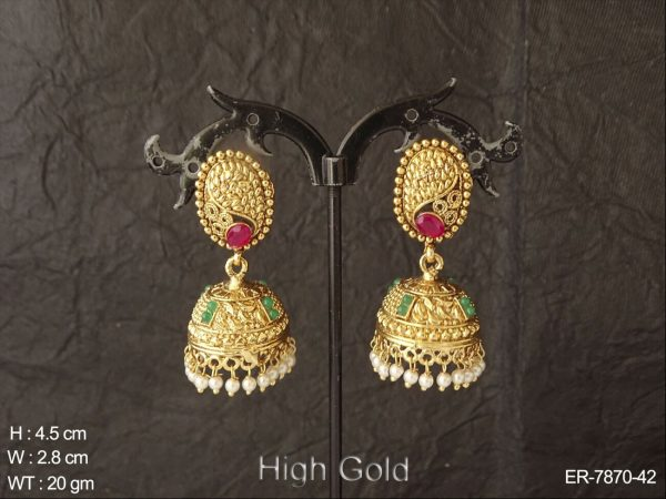 Ruby green delicate antique jhumka earring
