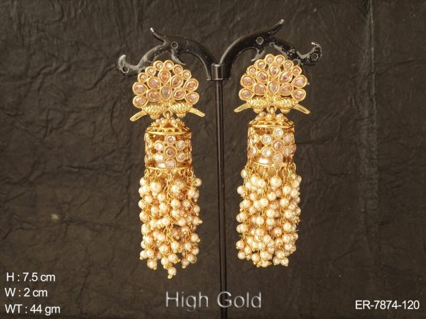 Lct stone clustered pearl antique earring