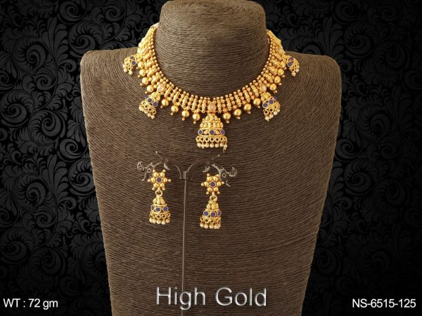 High gold delicate patta type antique necklace set