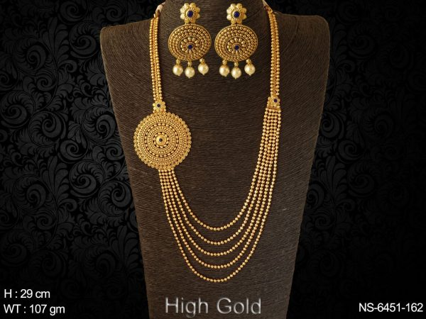 More layer ball chain high gold long antique necklace set