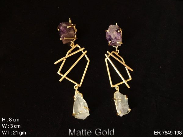 Crystal stone fusion earring