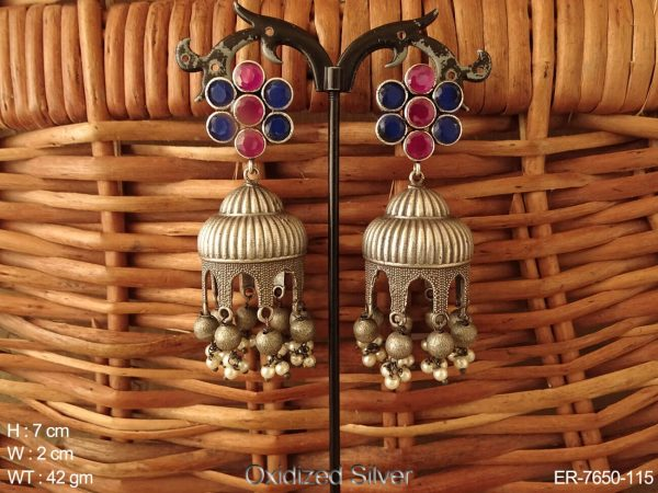 Silver plated oxidised tone fusion Jhumka earrings
