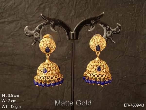 Leave emboss colouring drop antique jhumka earring