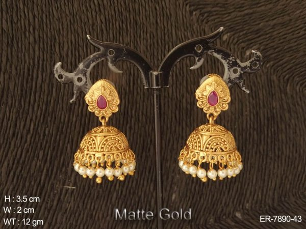 Matta gold multiple colouring drop delicate antique jhumka earring