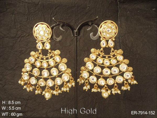 Bollywood bridal white clustered pearl kundan earring