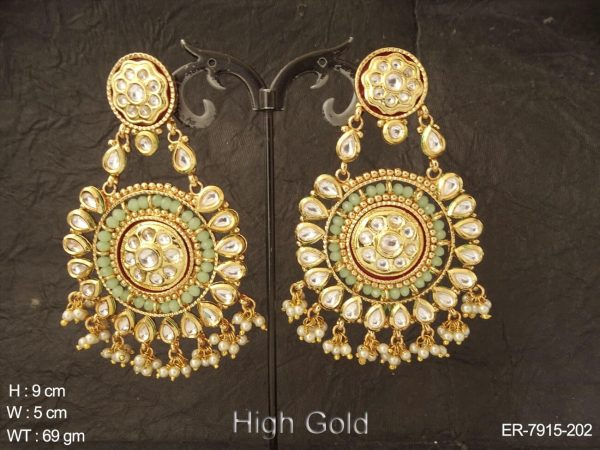Bollywood bridal white kundan earring