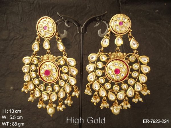 Branded bollywood long kundan earring