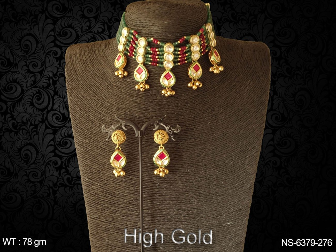 Bridal ruby green chokar antique necklace set