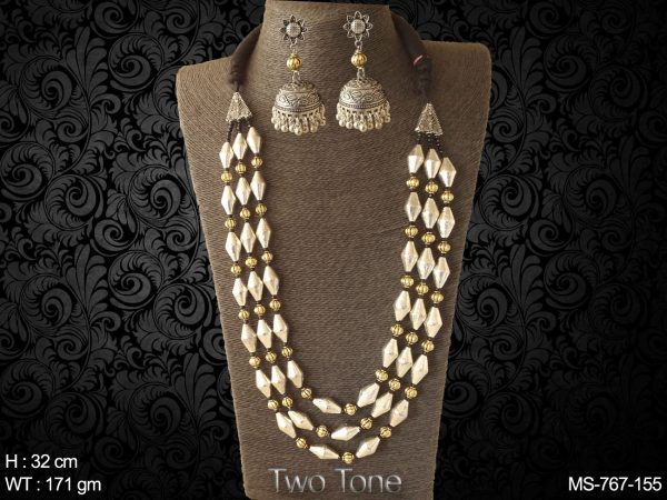 Triple line silver Gold therd black dholki elaichi Traditional beads mala