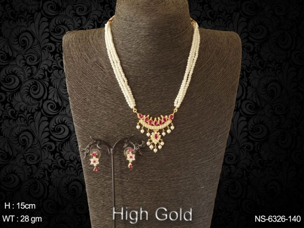 Traditional tanmani pearl long ad necklace set