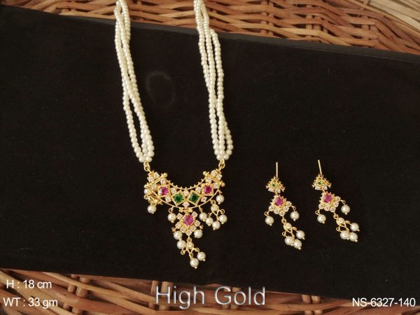 Traditional tanmani Ruby green pearl long ad necklace set