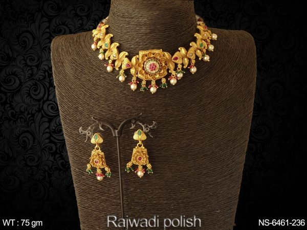 Koyari flower ruby green chokar polki necklace set