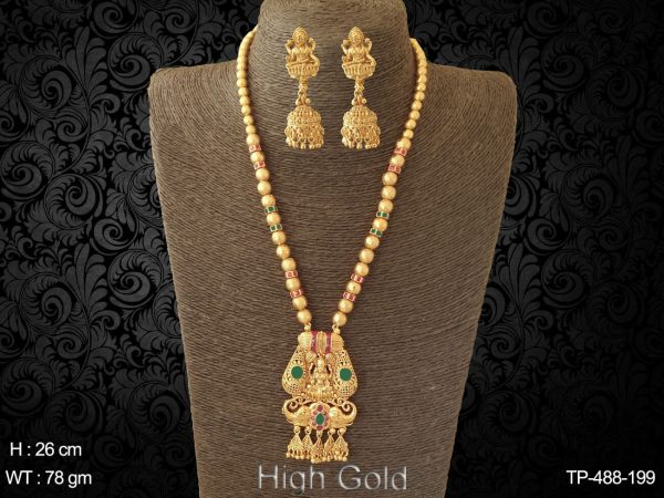 Gold plated traditional temple pendant set