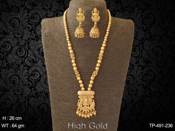 Ruby green clustered moti bridal traditional temple pendant set