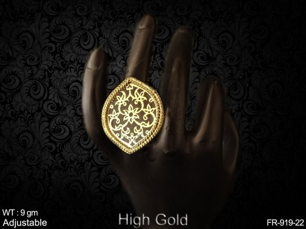 Rajasthani thewa high gold finger ring