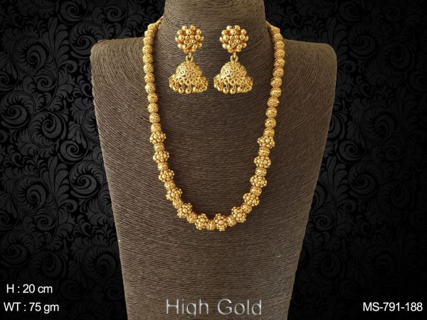 Beads high golden bridal long antique traditional mala
