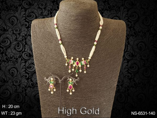 Ruby green pearl traditional AD Necklace set