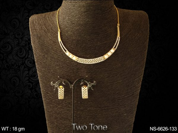 Pearl two tone full ad diamond necklace set