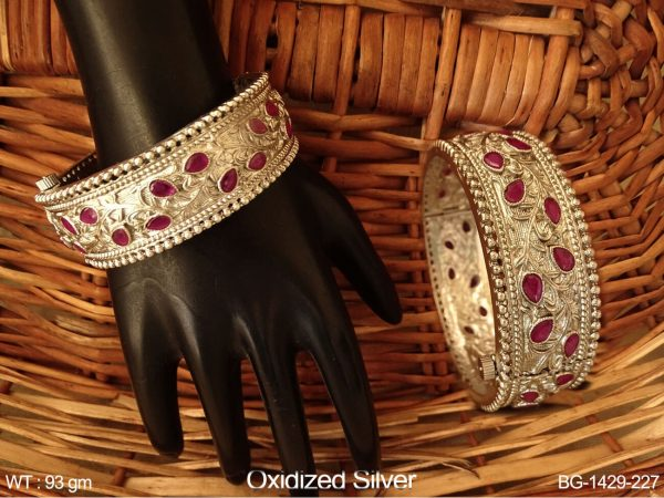 Rani paan silver antique bangle