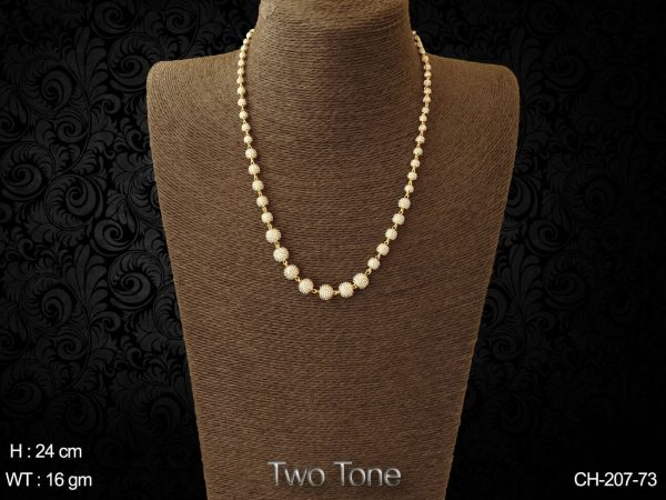 Two tone long ball antique chain
