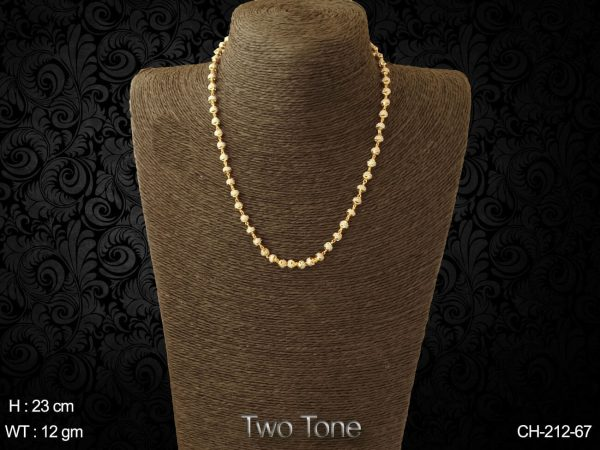 Two tone beads ball long antique chain