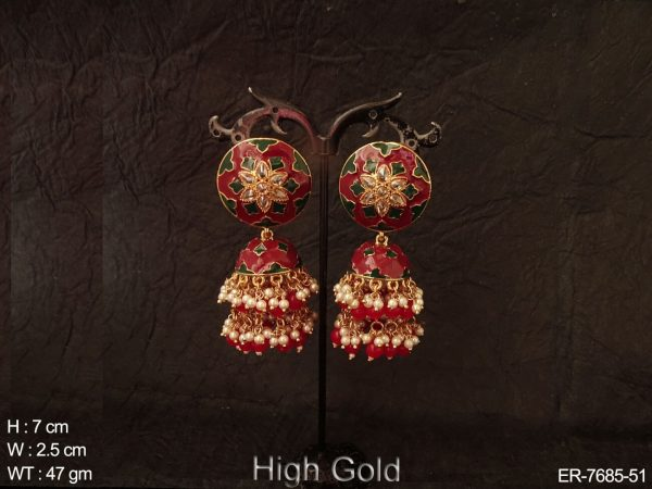 Meena kari full beads antique jhumka earring