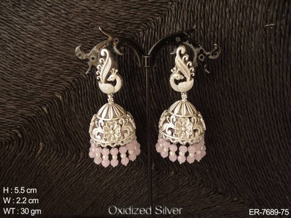 Silver peacock colouring moti drop antique earring