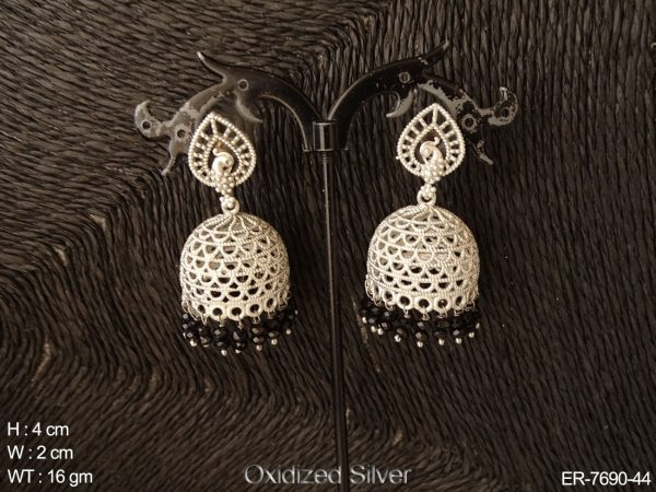 Peacock silver jhumka antique earring