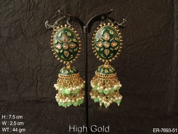 Meena kari double jhumka antique earring