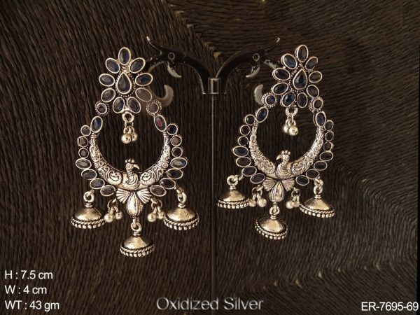 Oval stone with peacock antique earring